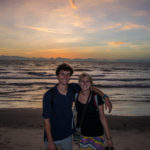 Project managers Corey Spies (left) and Brianna Parsons (right) enjoy a Gambian sunset