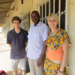 Project Managers Corey Spies (left) and Brianna Parsons (right) meet with Ousmain Ceesay, one of The Gambia's three government veterinarians