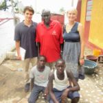 Project Managers Corey Spies (top left) and Brianna Parsons (top right) meet with Matarr Njai (top center), a livestock feeds researcher from The Gambia Department of Livestock Services